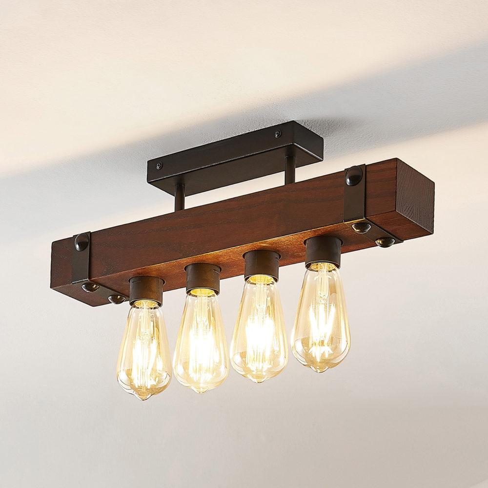 Lindby Michaela taklampe, trebjelker, 4 lyskilder