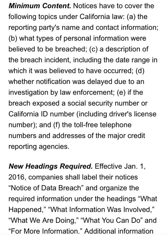 The screenshot below states the California requirements for notifying affected persons if their cards have been breached. LuLaRoe has not contacted anyone ...