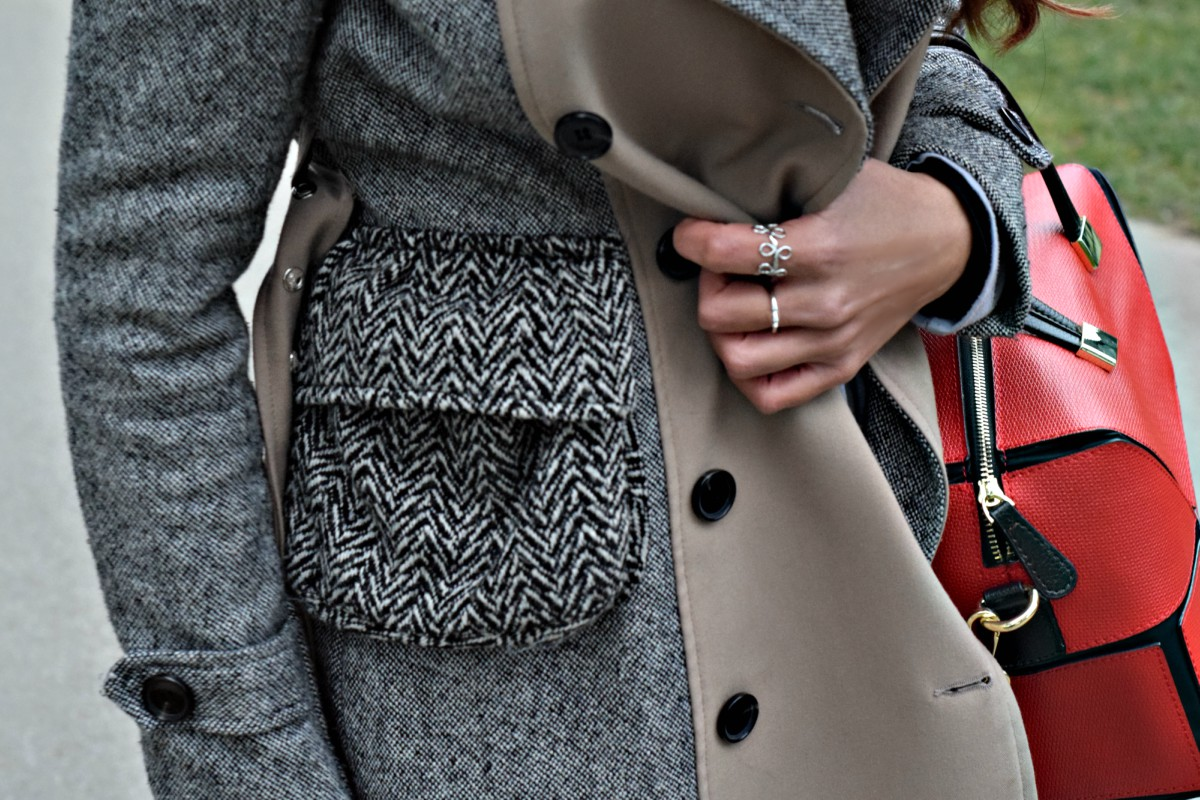 Tweed coat with a red touch
