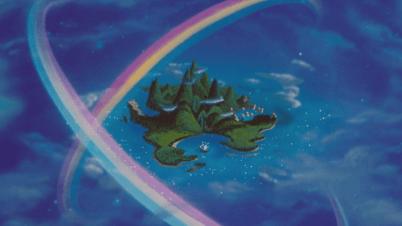 Peter_Pan_(Disney)_1953_Pays_Imaginaire_vue_arrivée_apparition_arc-en-ciel_île
