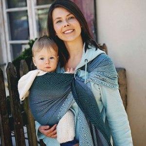 sling écharpe de portage sans noeud little frog tissée evergreen cube dès la naissance nouveau-né débutant