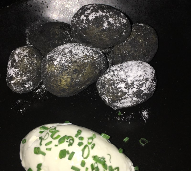salt and charcoal potatoes Ink restaurant