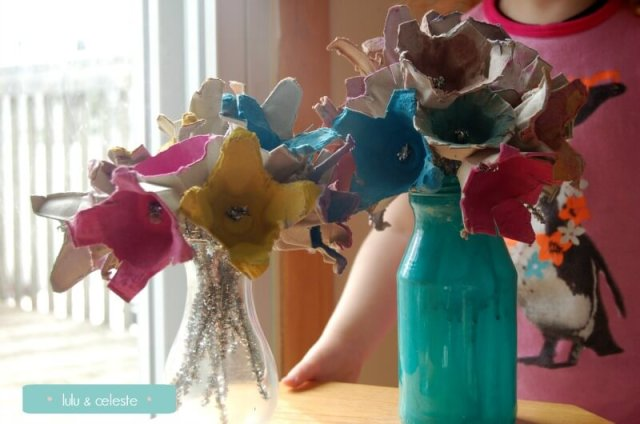 Egg Carton flowers completed