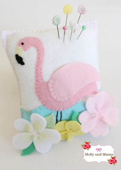 Flamingo pincushion by Molly and Mama