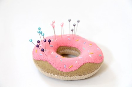 Doughnut pincushion from Wrapped Up in Rainbows