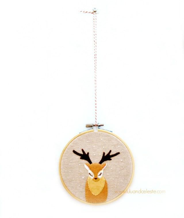 Deer applique embroidery hoop ornament or wall decor tutorial by Lulu & Celeste