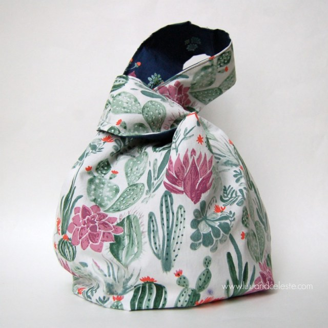 Japanese knot bag with monaluna fabrics
