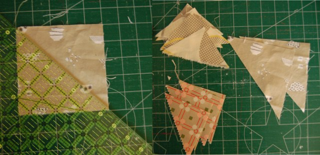 Cut triangles for patchwork coaster