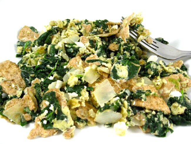 Matzo-Brei-with-spinach-garlic-and-onions-photo-1