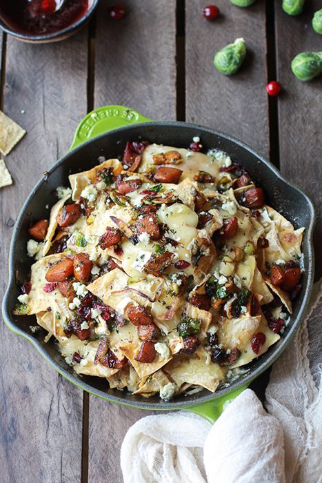 cranberry-butternut-and-brussels-sprout-brie-skillet-nachos-2