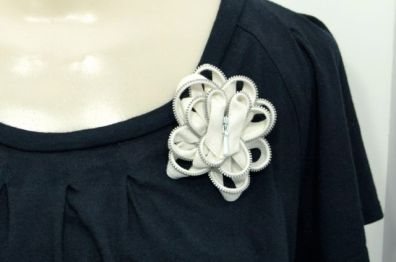 Upcycled Zipper Brooch