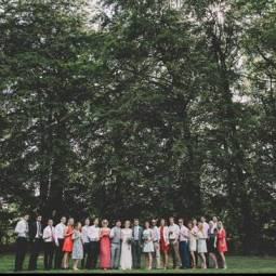group-wedding-guest-photo-bell-tent-and-forest-backdrop
