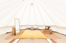memory-foam-bed-bell-tent-interior