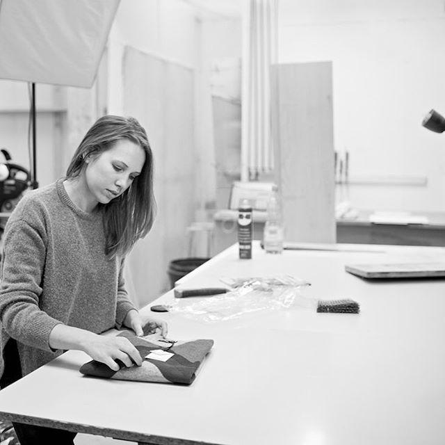 British knitwear designer, Genevieve Sweeney  in her studio