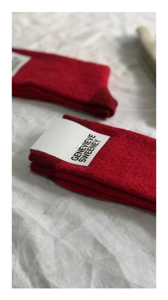 Merino wool red socks, British made by Genevieve Sweeney.