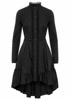 sukienka Adrien, czarna, polskich projektantów, koronkowa, koszulowa, na guziki, z falbaną, długi rękaw, na randkę, do pracy, na event