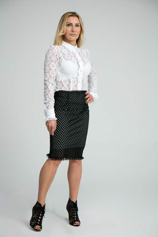 spódnica, spódnica koronkowa, koronka, krótka, kobieca, z falbanką, czarna, elegancka,
