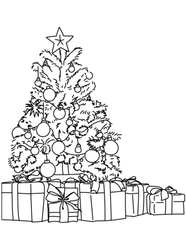 printable coloring pages - Gifts and Tree 1