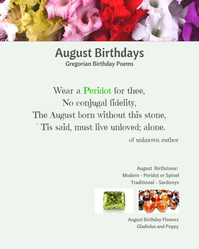 August Birthstone Poem