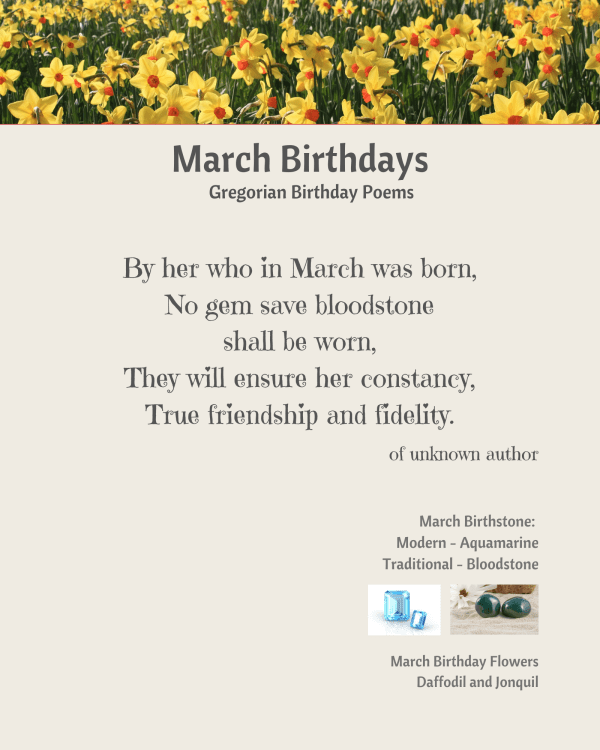 March Birthstone Poem