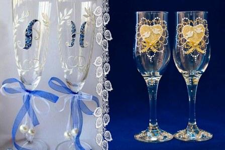 свадебные бокалы роспись по стеклу фото