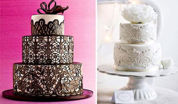 свадебный торт из кружева