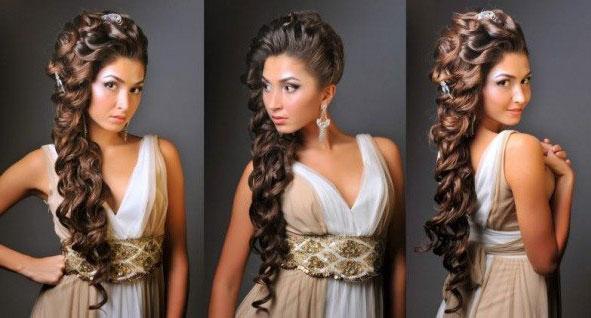 Свадебная прическа на длинные волосы в греческом стиле