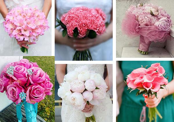 Красивые свадебные букета розового цвета
