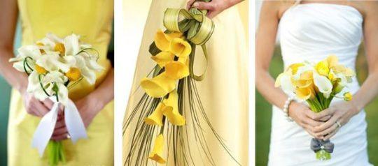 изящный свадебный букет из желтых калл