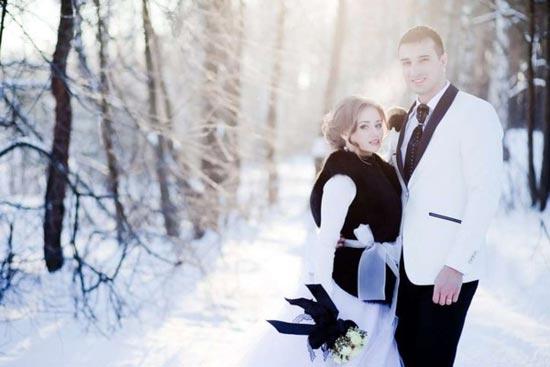 красивая свадебная фотосессия зимой