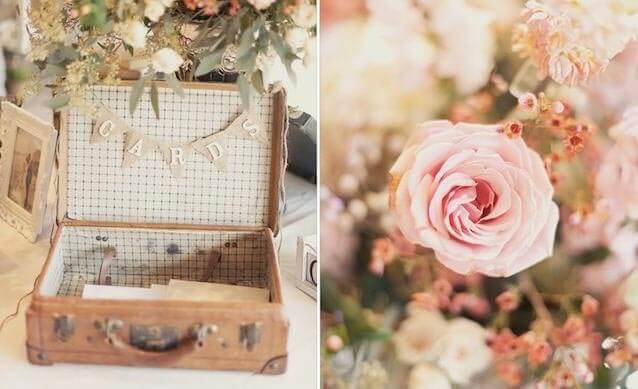 свадебный ретро чемодан для открыток