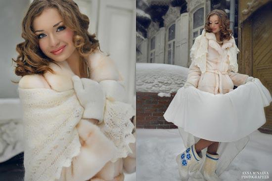 наряд для невесты зимой