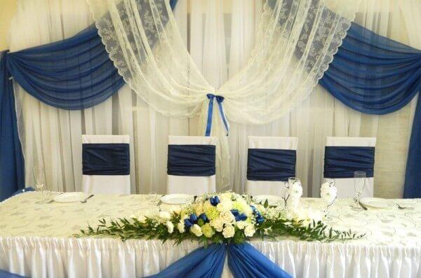Свадебный зал с синей отделкой