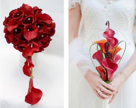 Свадебный букет из красных калл