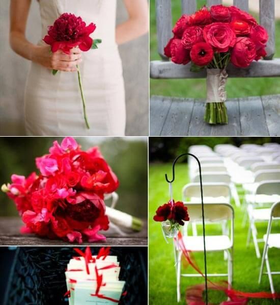 Красный свадебный букет из пионов