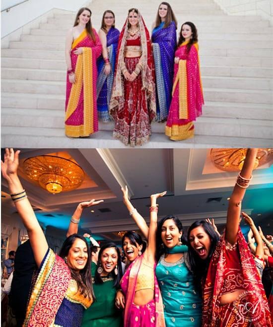 Красивые платья для подружек невесты в индийском стиле