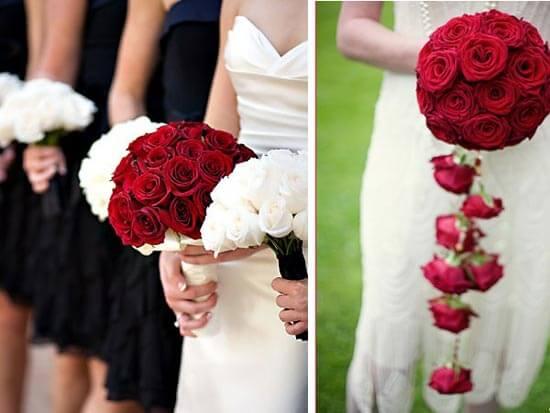 Невеста с красным букетом из роз