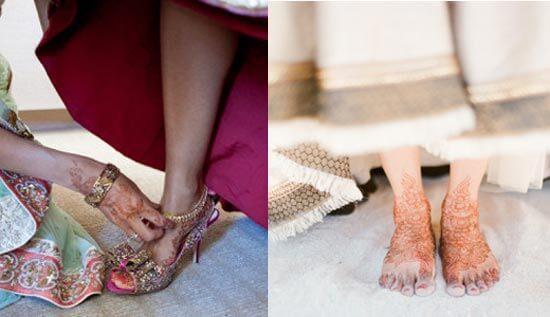 Ступни индийской невесты в мехенди