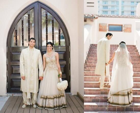 индийская невеста в белом платье с фатой