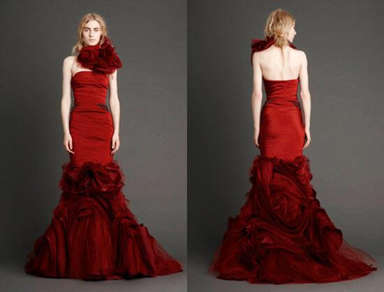 Свадебное платье бордовое от Веры Вонг