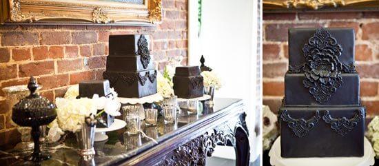 Черный свадебный торт в стиле чикаго