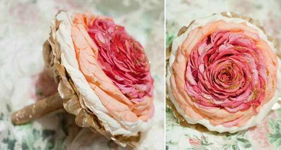 Розовая гламелия с позолотой