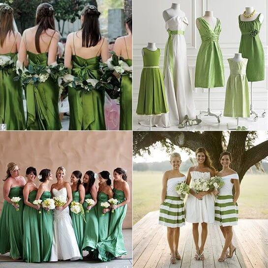 Платья подружек в зеленом стиле