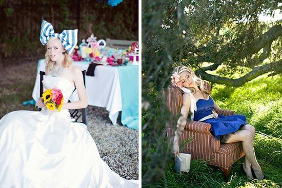 короткое свадебное синие платье в стиле алиса