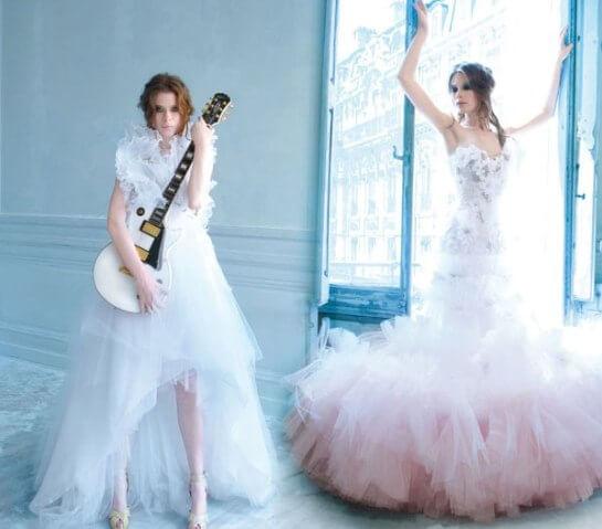 Невесты в длинных платьях в стиле рок