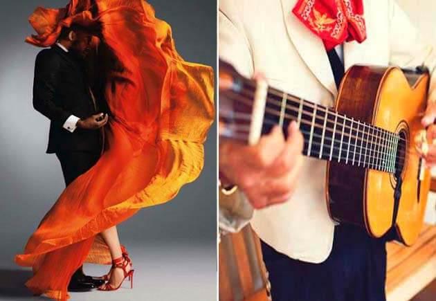свадьба в стиле латино: молодожены и гитарист