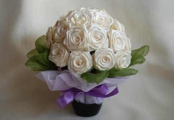 Розы из атласных лент своими руками: мастер-класс для ...