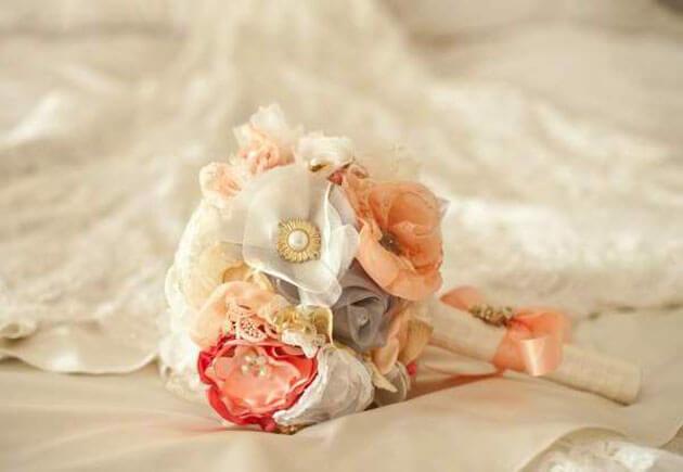 букет из цветов, основа ткань