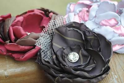 свадебные броши из ткани