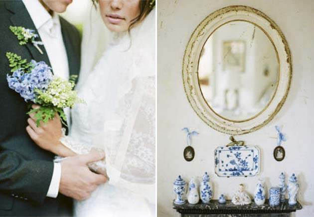 свадьба голубая в винтажном стиле